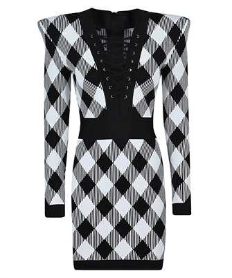 Balmain VF16248K214 LACE-UP GINGHAM JACQUARD Dress