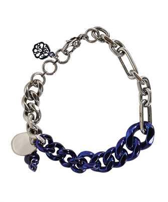 Alexander McQueen 663686 IAG2Y BLUE CHROME CHAIN SKULL Bracelet