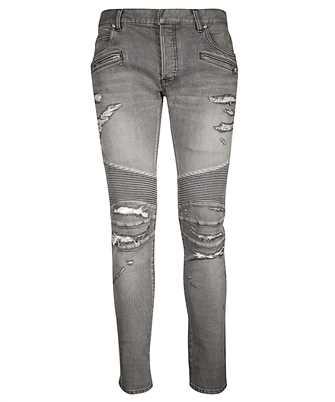Balmain RH15130Z010 SLIM RIBBED POCKET ZIP Jeans