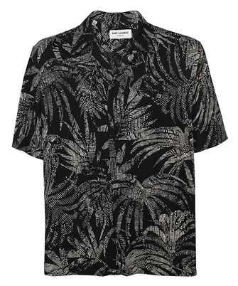 Saint Laurent 531956 Y2C26 DOTTED LEAF VISCOSE SHARK-COLLAR Shirt