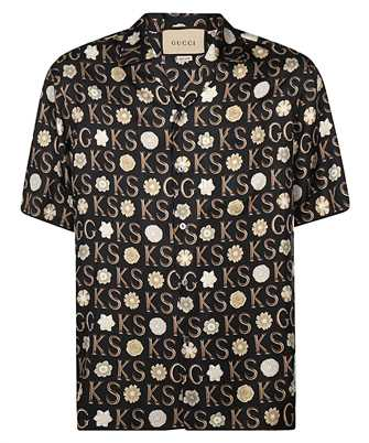Gucci 644427 ZAGAR KEN SCOTT PRINT SILK BOWLING Hemd