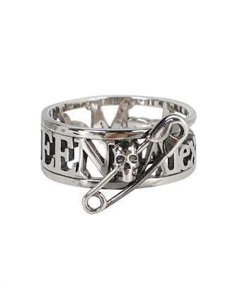 Alexander McQueen 663824 J160Y SKULL SAFETY PIN Ring