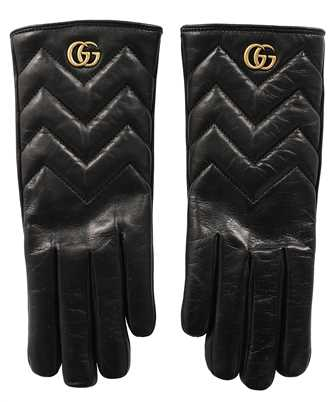 Gucci 477965 BAP00 GG MARMONT CHEVRON LEATHER Gloves