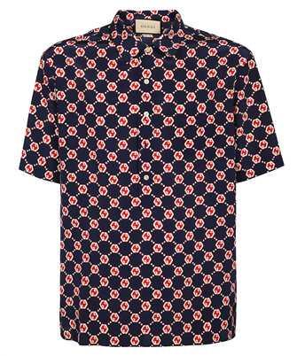 Gucci 654887 ZAF9W GG HEXAGON SILK CREPE BOWLING Camicia