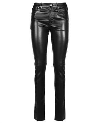 Saint Laurent 496409 Y5RG2 BLACK LEATHER SIGNATURE LOW WAISTED SKINNY Jeans