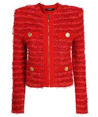 Balmain WF0SK033K336 COLLARLESS ZIPPED TWEED Jacket