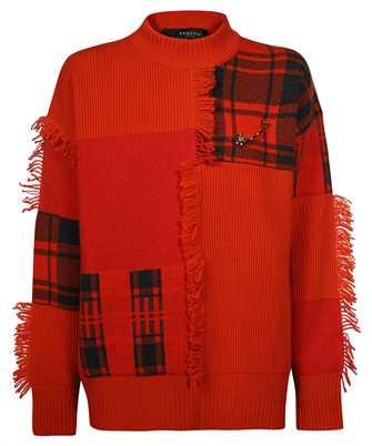 Versace 1001306 1A00791 TARTAN PATCHWORK WOOL Knit