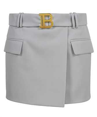 Balmain VF0LA005167L SHORT BELTED GRAIN DE POUDRE Skirt
