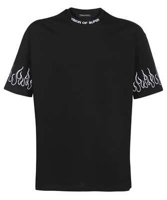 Vision Of Super B1WHITEFL EMBROIDERED WHITE FLAME T-shirt