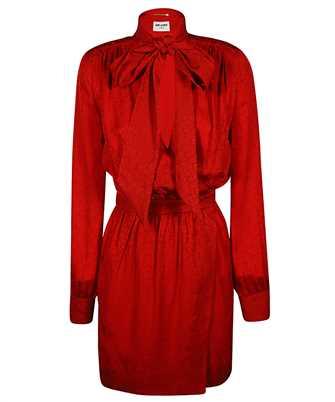 Saint Laurent 642367 Y143U LAVALLIERE-NECK Dress