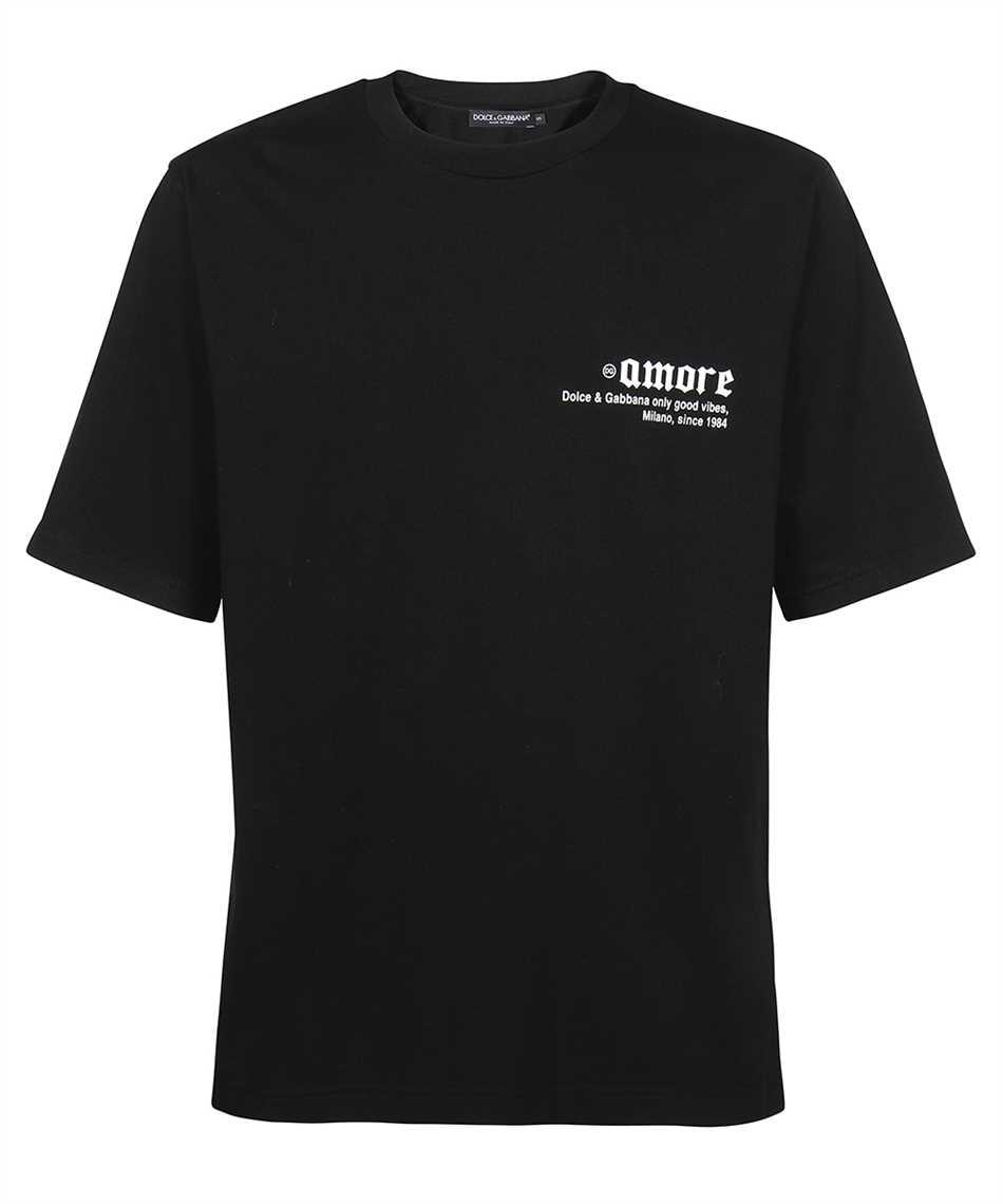 Dolce & Gabbana G8MY9Z HU7F0 PRINTED COTTON FRAYED PATCH T-shirt 1