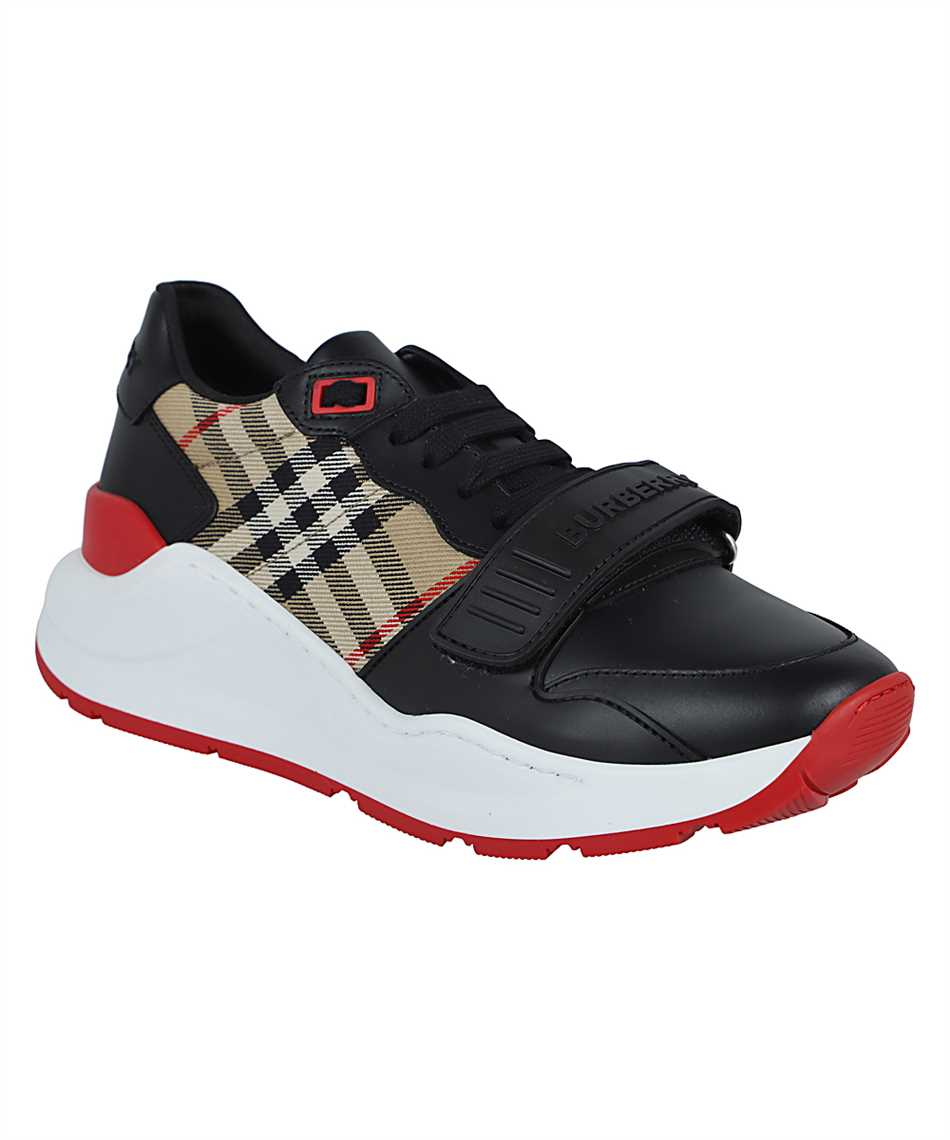 Burberry 8038184 LEATHER AND VINTAGE CHECK COTTON Sneakers 2