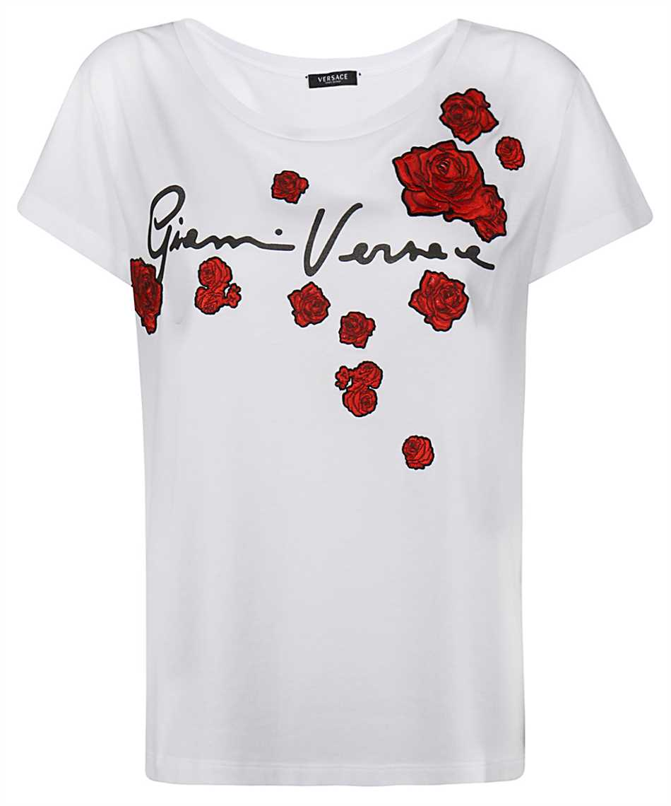 Versace A87466 A228806 EMBROIDERED ROSES T-shirt 1