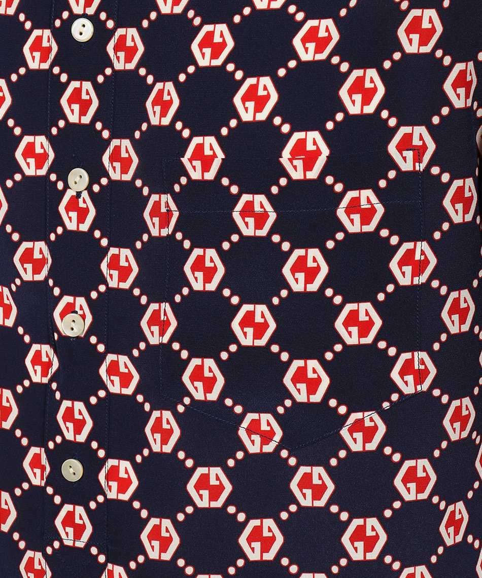 Gucci 654887 ZAF9W GG HEXAGON SILK CREPE BOWLING Hemd 3