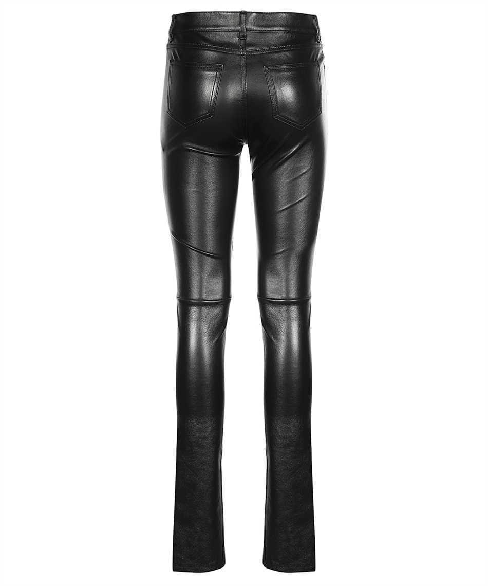 Saint Laurent 496409 Y5RG2 BLACK LEATHER SIGNATURE LOW WAISTED SKINNY Jeans 2