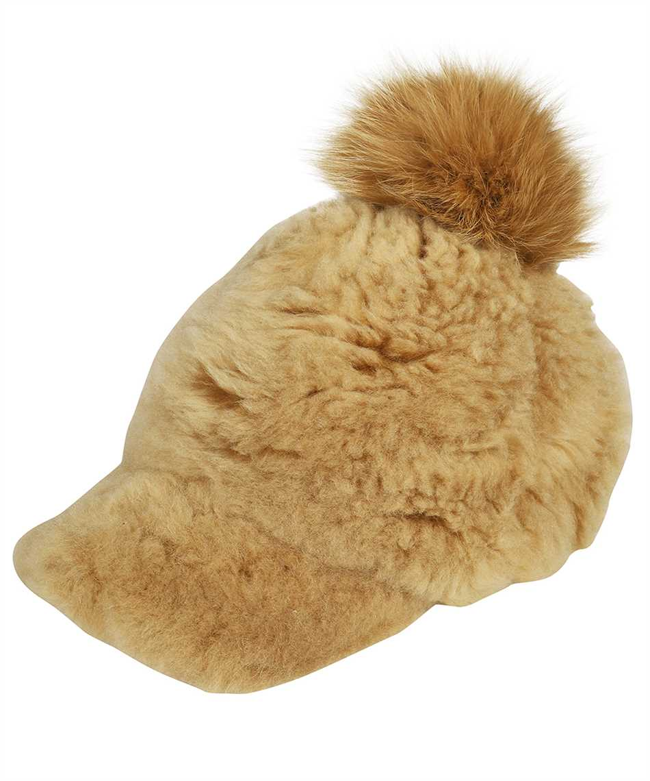 Karl Donoghue CMFPCW1 CASHMERE TOUCH SHEARLING WITH FOX FUR POM Cap 1