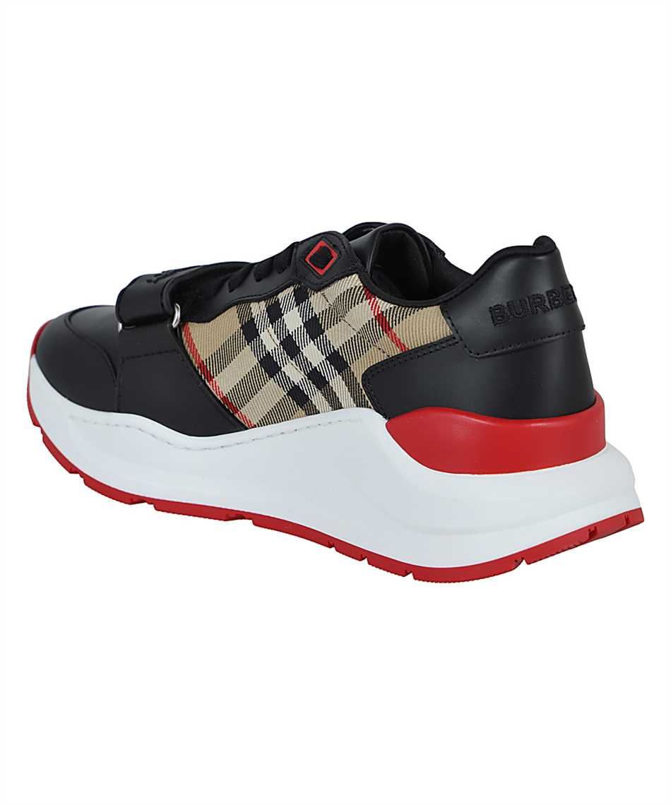 Burberry 8038184 LEATHER AND VINTAGE CHECK COTTON Sneakers 3