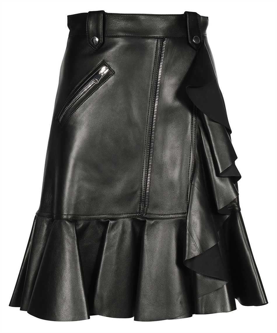 Alexander McQueen 668445 Q5AGK LEATHER RUFFLE Skirt 1