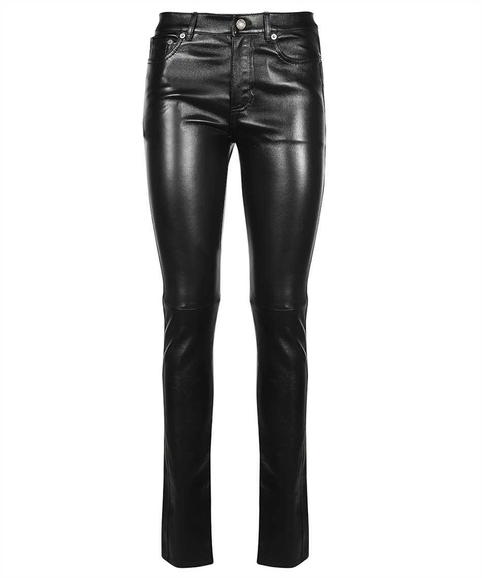 Saint Laurent 496409 Y5RG2 BLACK LEATHER SIGNATURE LOW WAISTED SKINNY Jeans 1