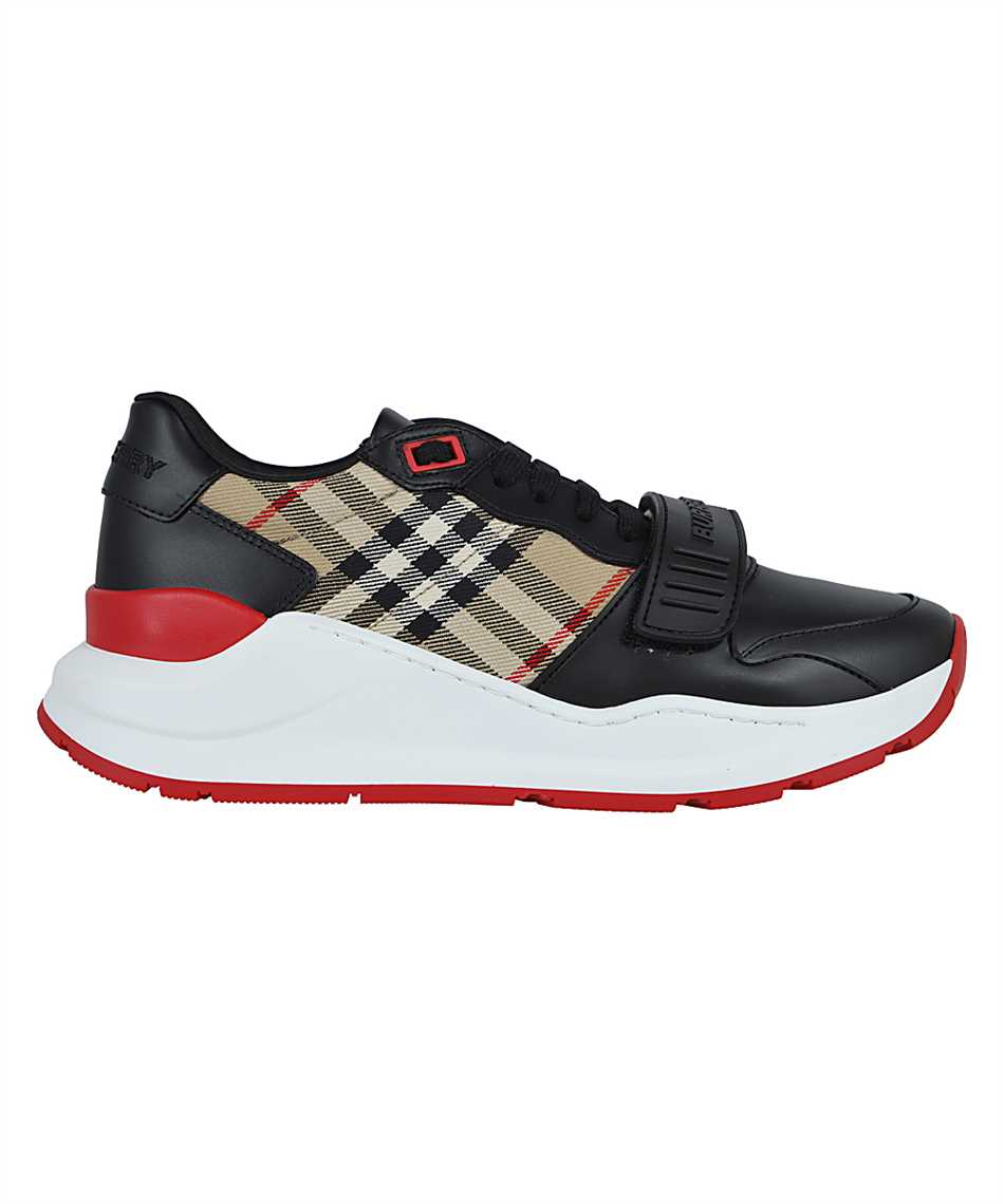 Burberry 8038184 LEATHER AND VINTAGE CHECK COTTON Sneakers 1