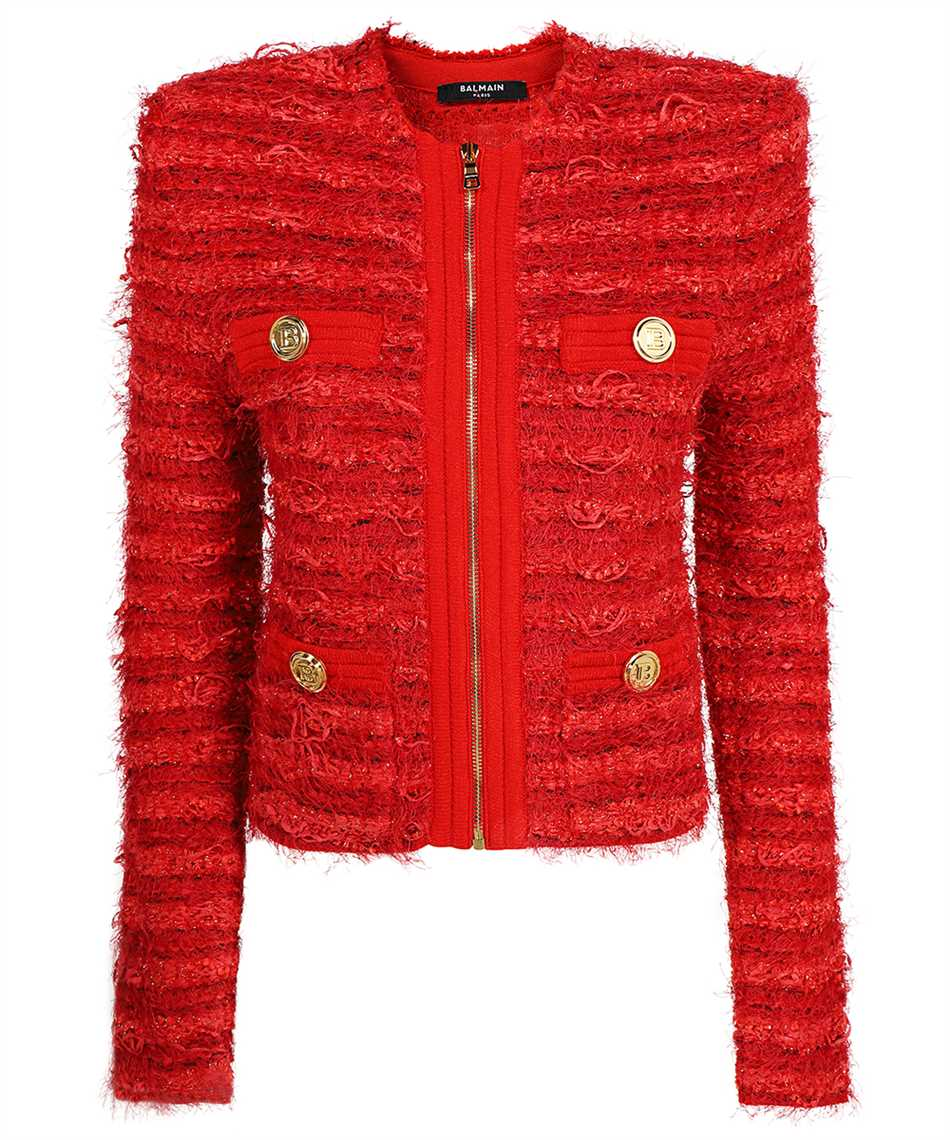 Balmain WF0SK033K336 COLLARLESS ZIPPED TWEED Jacket 1