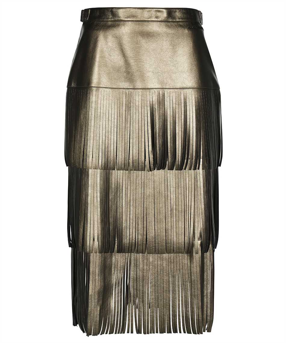 Karl Lagerfeld 216W1206 FAUX-LEATHER FRINGED Gonna 1