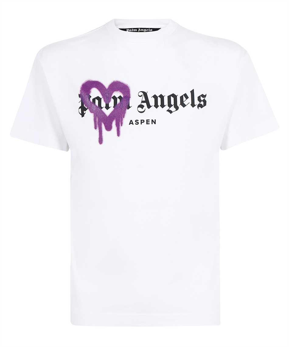 Palm Angels PMAA001F21JER005 ASPEN HEART SPRAYED T-Shirt 1