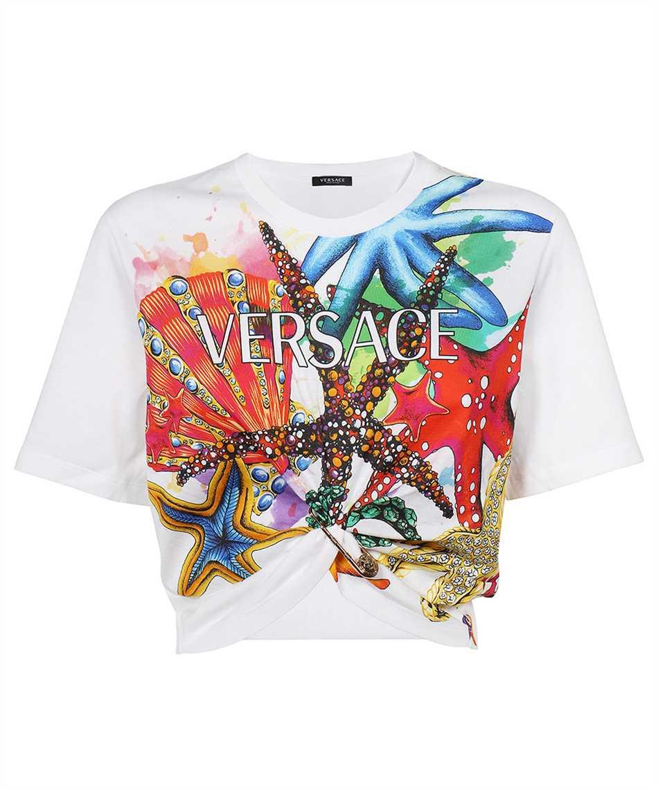 Versace A89371 1F01209 TRÉSOR DE LA MER PRINT CROP T-Shirt 1