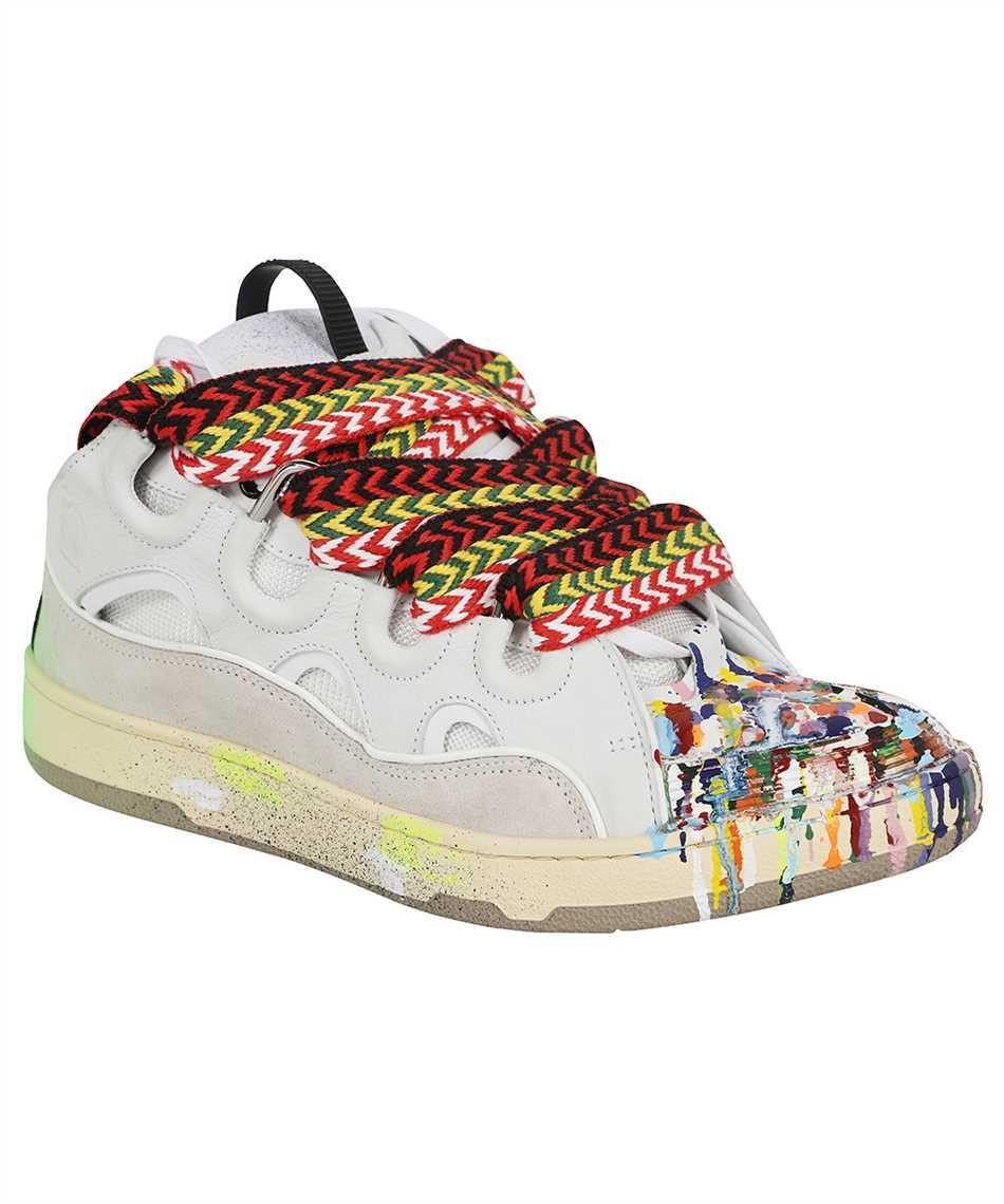 Lanvin FM SKRK11 DRGD E21 PAINTED LEATHER CURB Sneakers 2