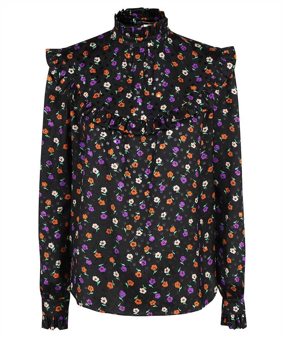 Saint Laurent 660875 Y811T MATTE AND SHINY LAMÉ FLORAL SILK Shirt 1